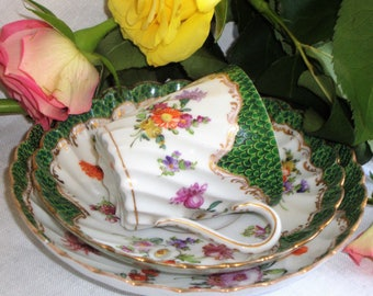 Antique Dresden Hand Painted Trio Cup, Saucer And Plate