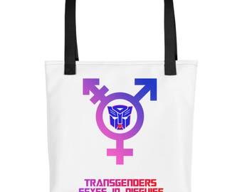 Transgender Tote Bag, One of a Kind Design, Carry All Beach Bag