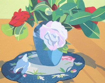 Camellias, limited edition serigraph