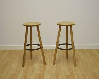 Stable Bar Stool oak and steel