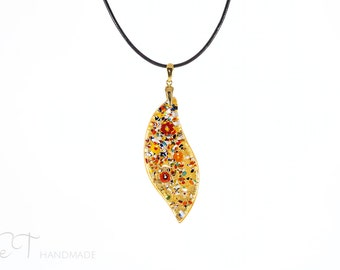 Murano glass gold leaf necklace - Murano necklace