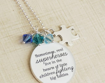 Inspirational Autism Necklace Puzzle Necklace Autism Awareness Birthstone Necklace Quote Necklace Inspirational Gift Mothers Day Mom Gift