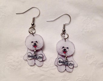 Handcrafted Plastic Bichon Frise Earrings Customized with your Dog's Name Gifts for her bic18a