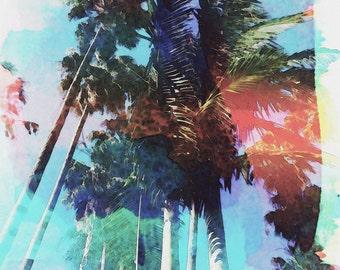 Watercolor Palm Trees Daylight Blue Sky Marina California ClassicContemporary Fine Art Print Photography Digital Painting