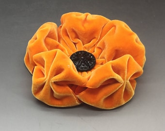 Large Pumpkin Orange  Velvet Puffy Flower Applique