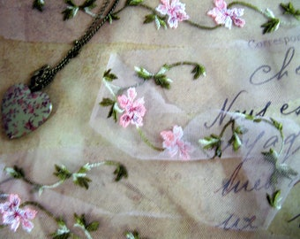 very delicate on tulle floral pink lace