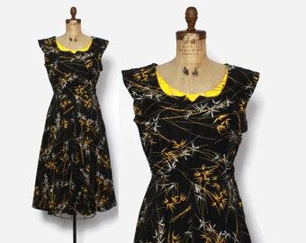 Vintage 50s NOVELTY Print DRESS / 1950s Bamboo Print Rhinestone Trim Cotton Sun Dress