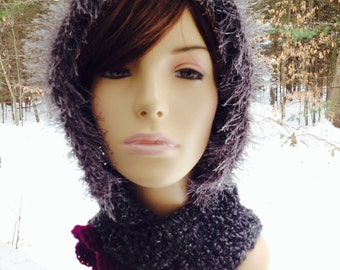Hooded Scarf/Hat with Fur and Flower Closure