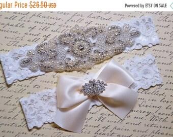 ON SALE Wedding Garter - Bridal Garter - Pearl and Crystal Rhinestone Garter and Toss Garter Set,  Rosalie Style 10821