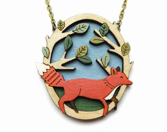 Running fox necklace ~ hand painted laser cut necklace