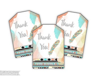 Tribal Boho Birthday Party - Printable Bohemian Thank You Tags - Aztec / Instant Download