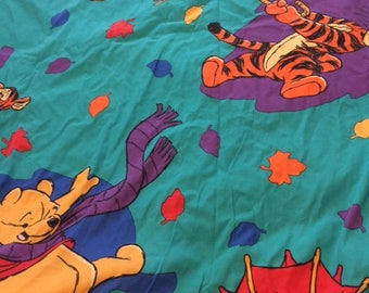 Vintage Winnie the Pooh Turquoise Umbrella Leaves Twin Sheet Set Flat Fitted Pillowcase Fabric