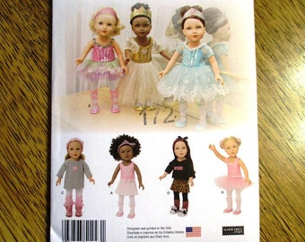 "FANCY Ballet Dress / Ballerina Costume / Doll Dance Clothing / DESIGNER Clothing for 18"" Dolls - UNCUT ff Sewing Pattern Simplicity 1243"