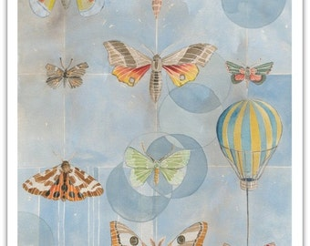 Flight Collection Greeting Card with Envelope - 5x7 Blank - Butterflies - Hot Air Balloon