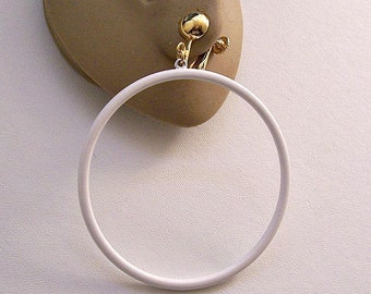 """Monet White 3"""" Thin Hoops Clip On Earrings Gold Tone Vintage Extra Large 76mm Open Rings Comfort Adjustable Screwbacks Round Domed Buttons"""