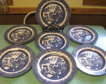 Blue Willow Ware Dinner Plates Churchill Vintage Dinnerware and Replacements Set of Seven (7) Plate Walls Imperfections