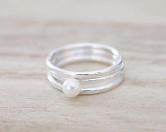 Set of 3 hammered rings, sterling silver pearl ring, stacking set, rings, silver ring, sterling silver ring, freshwater pearl, stacking ring