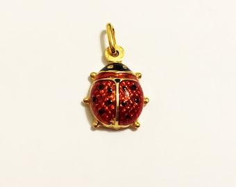 18k solid yellow gold(15mm)lucky charm ladybug pendant