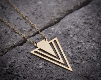 Gold V necklace, triangle necklace, arrow necklace, Geometric necklace, gold triangular necklace, everyday necklace, unique necklace, 14K.