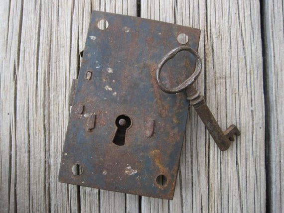 Key Lock Antique Cabinet Lock with Key Vintage Lock Plate with Skeleton Key Ste&unk Lock Doors and Locks from JenniferSihvonen on Etsy Studio : antique key plate - pezcame.com