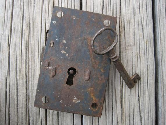 Key Lock Antique Cabinet Lock with Key Vintage Lock Plate with Skeleton Key Ste&unk Lock Doors and Locks from JenniferSihvonen on Etsy Studio & Key Lock Antique Cabinet Lock with Key Vintage Lock Plate with ...