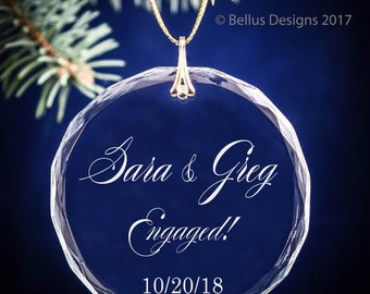 Newly Engaged Couple's Names, Date & Location Personalized Christmas Circle Ornament - Engagement Date Keepsake