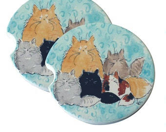 Maine Coon Kitty Family Mama & Kittens Blue Swirls Natural Sandstone Drink Coaster Sets Home Decor Car Cat Art Cat Lover Cat Gift