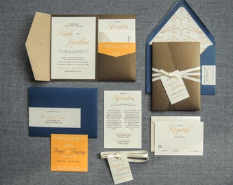 "Navy and Orange Wedding Invitations, Brown Invitations, Vintage & Rustic Invites - ""Enchanting Vintage"" PF-NL-v3 SAMPLE"