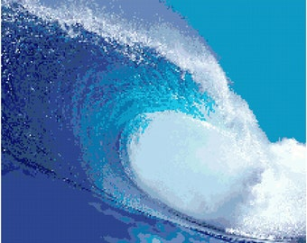 Wave Surf Ocean Counted Cross Stitch Pattern Chart PDF Download by Stitching Addiction