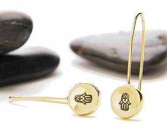 Hamsa Hand, Hamsa, Hamsa Jewelry, Hamsa Charm, Hamsa Earrings, Evil Eye, Jewish Gifts, Jewish Jewelry,  Hebrew Symbols, Hamsa Gifts, e246b