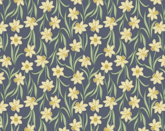 Daffodils on Dark  3.4 - FLO'S LITTLE Flowers - Lewis and Irene Fabrics  - By the Yard