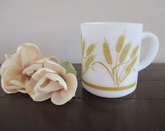Vintage Hazel Atlas Wheat pattern milk glass mug