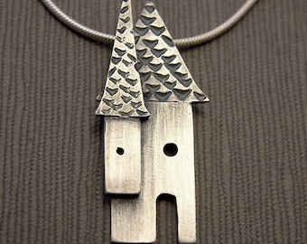 Sterling silver house necklace, house pendant, home, metalsmith jewelry, silversmith necklace, metalwork jewelry, oxidized jewelry birdhouse
