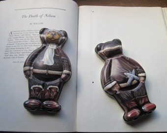 Vintage Bear Tin *  * Bear Gift Tin * Made in England * Pilot Bear * Illustration Tin