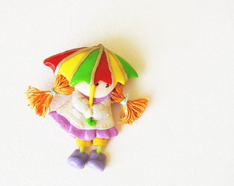 Brooch Lovely small doll pin brooch Girl with umbrella Kawaii brooch Baby shower gift It is a girl