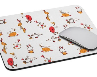 Rabbits (colorful) - Mouse Pad - Soft Fabric Top - Heavy duty natural rubber backing - Custom made
