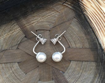 Sterling Silver and White Pearl Ear Jacket  Earrings 8mm