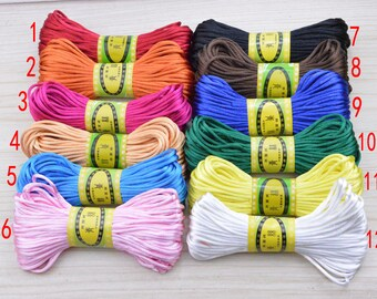 20 yds Assorted color satin cord, satin string, Mala string, faux silk string, Jewelry link, silky cord,Vegan satin cord, thread storage 2mm