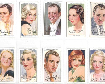 Complete Set of 50x Original Cigarette / Tobacco Cards - 'FILM STARS'  (3rd series)- issued by Players  c1937