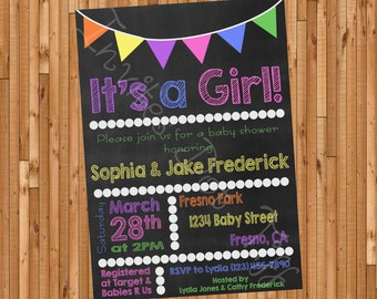 Chalkboard Style Printable Baby Shower (Girl) Invitation