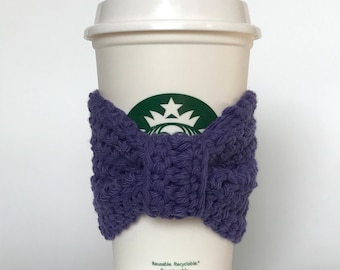 Travel/disposable coffee cup cozy with bow