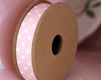 East Of India Baby Pink With White Dots Grosgrain Ribbon 3m