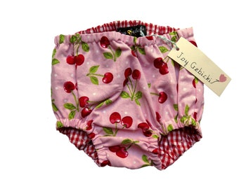 Sweet Cherry and Polka Dot with Gingham Lining Nappy / Diaper Cover