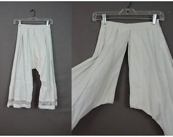 Vintage White  Cotton Bloomers, Split Crotch XS 22 inch waist, 1800s Victorian