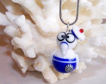 Glass - Navy Blue Frog necklace