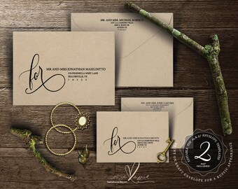 Editable Envelope template Instant Download PDF, Kraft rustic calligraphy Theme for Wedding Invitation Set (TED353_11)