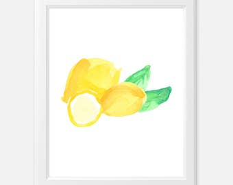 lemon watercolor print - kitchen art print - watercolor lemon print - watercolor lemons - watercolor lemon art print - kitchen lemon print