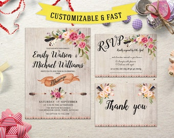 Printable wedding invitation,  wedding invitation template, wedding invitations with rsvp, wedding invitation printable, rustic wedding