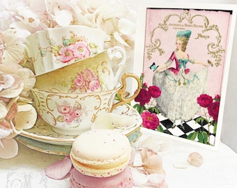 Marie Antoinette card, French corset, birthday card, card for her, card for girlfriend, French card, friendship card