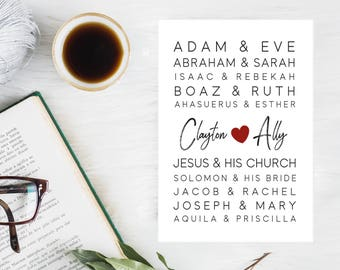 Customized Wedding Anniversary Personalized Bible Couples Wall Art Instant Printable Download